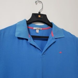 Peter Millar Mens Polo Shirt Blue Short Sleeve XL